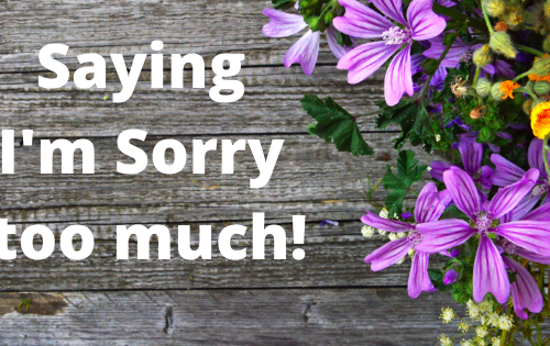 Saying sorry too much - a banner with those words bordered by flowers