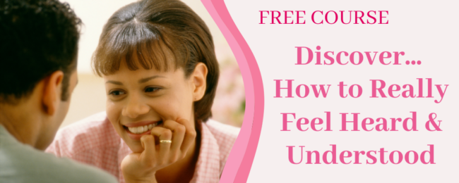 the elephant in the room - a woman feeling heard and smiling with a phrase - free course - discover how to feel heard and understood