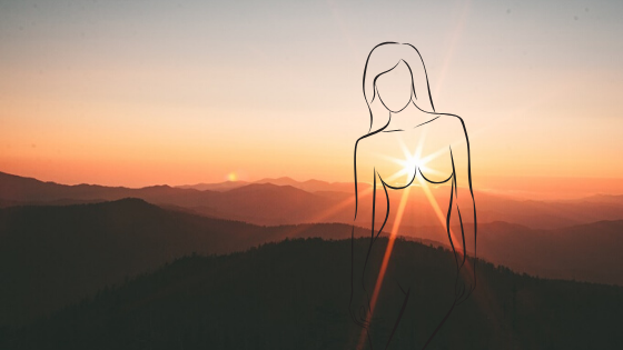 Women of the future - a drawing of a woman's form and the background is a sun rise shining through her heart.