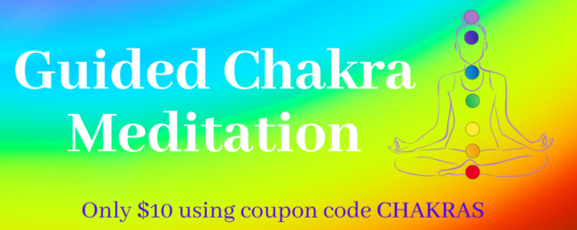 Guided Chakra Meditation for Beginners - Colorful banner offering a guided chakra meditation for only $10 using the coupon code CHAKRAS