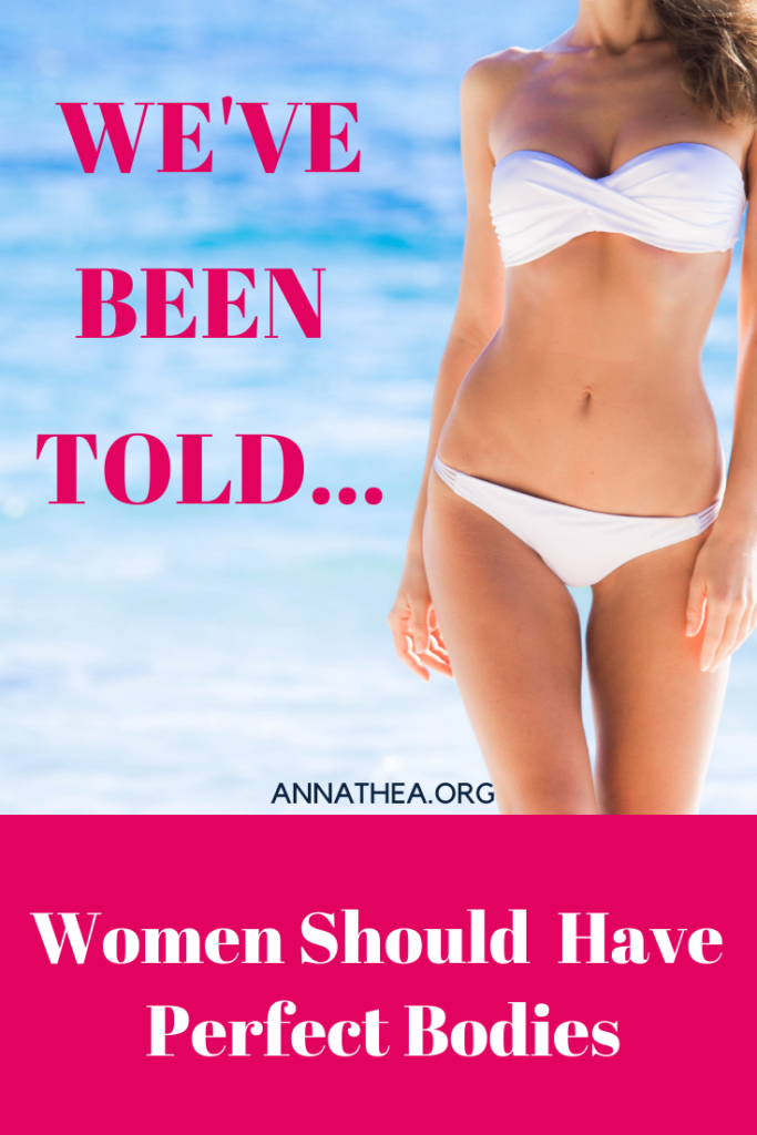 "Pinterest banner saying ""women have been told they should have perfect bodies."" Picture of a woman in a bikini"