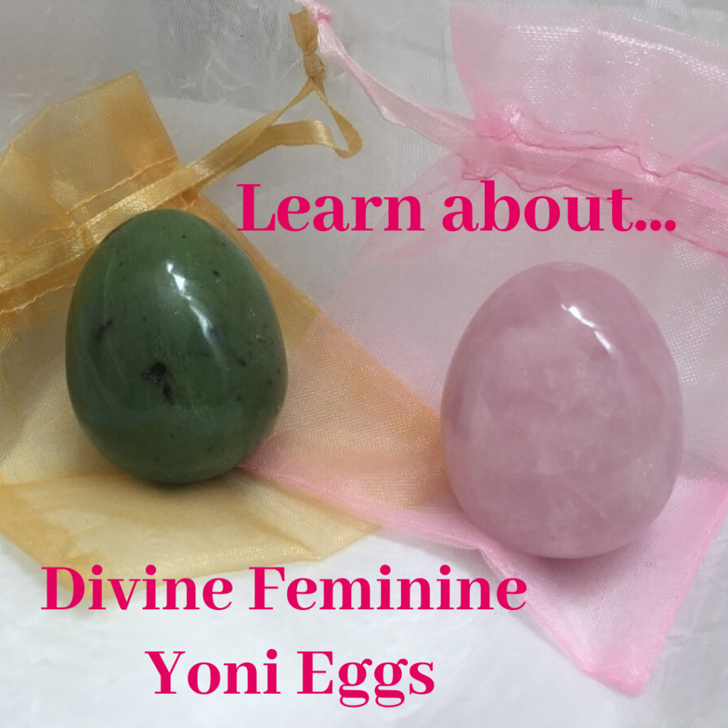 Two Yoni Eggs - Jade and Rose Quartz - click to learn about Yoni Eggs