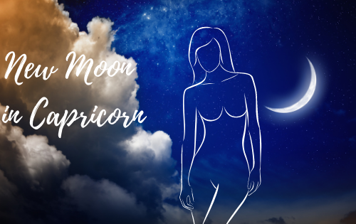 New moon January 2021 - a picture of a new moon, a woman's figure and the statement New Moon In Capricorn