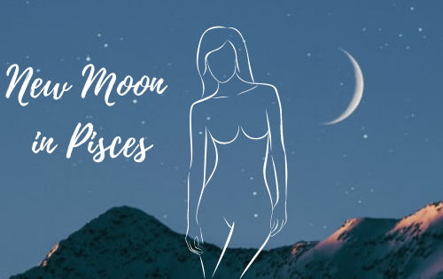 New Moon March 2021 Pisces - a New Moon and an outline of a woman
