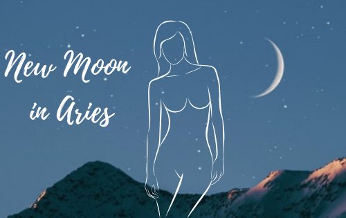 New Moon April 2021 - A picture of a woman's figure and a new moon