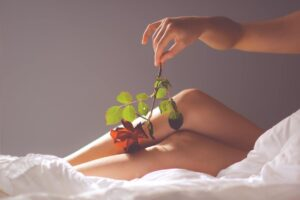 women and pleasure - a picture of a woman's legs and a flower gently touching it